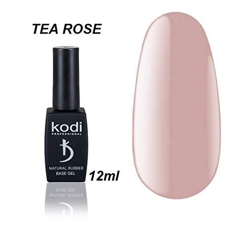 Kodi Professional Natural Rubber Base 12ml. (0.42 fl oz) Camouflage/Color, Pink, Beige, Rose, Ivory Gel LED/UV Nail Coat Soak Off Original + Gift Nail File (Rubber Base TEA ROSE 12ml.)