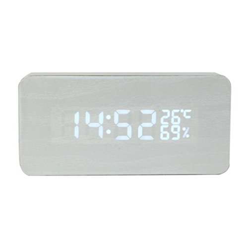 Coohole Digital LED Wood Wooden Desk Clock Alarm Snooze Voice Timer Thermometer With a USB cable (White) Lg Wood Clock