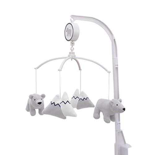 (Carter's Explore Baby Bear Grey & White Musical Mobile with Bears & Snow Capped Mountains, Grey, White,)