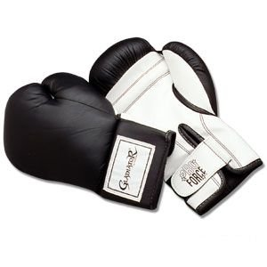 Gladiator Boxing Glove (Proforce® Gladiator Leatherette Boxing Gloves - Black/white)