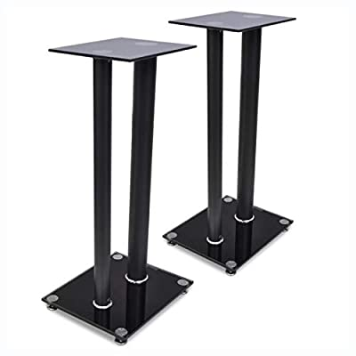 K&A Company Speaker Stand & Mount, 2 pcs Glass Speaker Stand (Each with 2 Black Pillars)