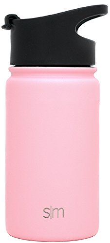 Simple Modern 14 Ounce Summit Water Bottle - Travel Mug Stainless Steel Tumbler Flask +2 Lids - Wide Mouth Double Wall Vacuum Insulated Pink Leakproof -Blush