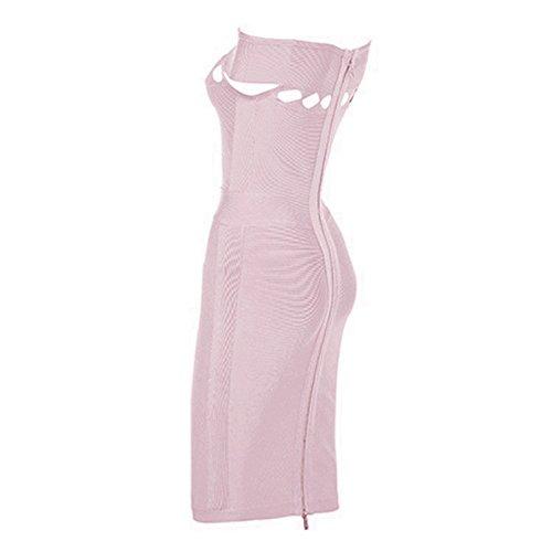 Whoinshop De Rayonne De Femmes Au Large Bandage Midi Clubwear Épaule Découpé Lilas Robe