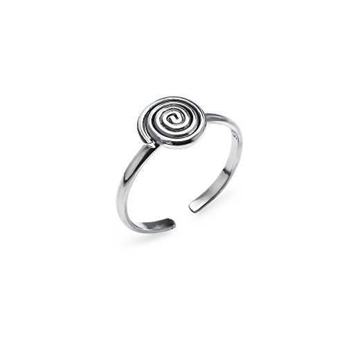 (Spiral Swirl Adjustable Toe Ring - Sterling Silver Jewelry)