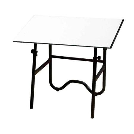 Drafting Table w Black Tubular Steel Base - Onyx