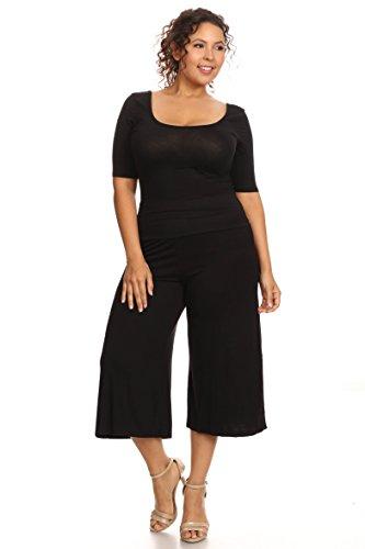 Women's Plus Size Soft Capri Gaucho Pants Made in USA: Black (4X)