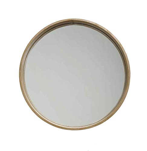 Moongkle Round Bent Wood Wall Mirror with Ash Wood 24.5 inch ...