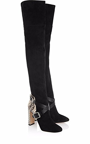 Automne Bottes BLACK Serpentine Cuisse Talon NVXIE Suede de EUR44UK10 Plus Pointu Cuir Hiver Noir Couture Rugueux Genou Chaussures Femmes xq1HZ