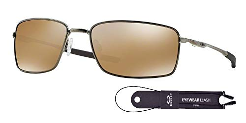 Oakley Square Wire OO4075 407506 60M Tungsten/Tungsten Iridium Polarized Sunglasses For Men+BUNDLE with Oakley Accessory Leash Kit