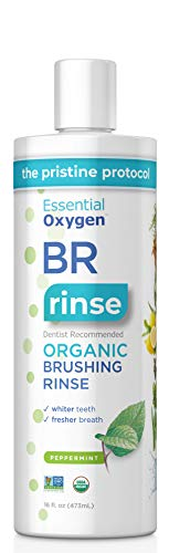 Essential Oxygen Certified BR Organic Brushing Rinse, All Natural Mouthwash for Whiter Teeth, Fresher Breath, and Happier Gums, Alcohol-Free Oral Care, Peppermint, 16 Ounce ()