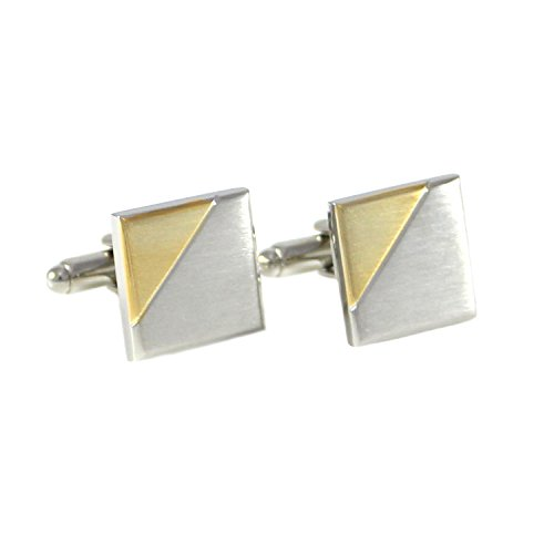 MENDEPOT Classic Bi-Tone Plated Brushed Finish Square Geometric Pattern Cuff Links in Box (Gold)