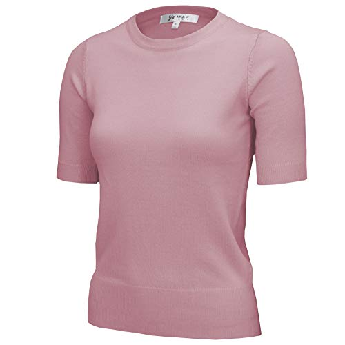 Women's Daily 1/2 Sleeve Slim-Fit Pullover Sweater Vintage Inspired MK3664-PNK-XL ()