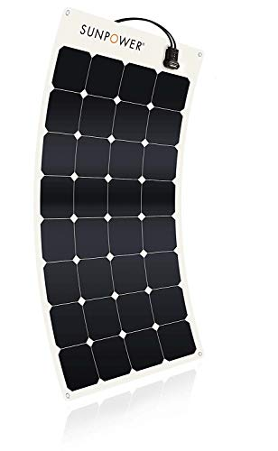 SUNPOWER Portable Solar Panels, Flexible Panel / Monocrystalline Cells / Lightweight/ MC4 Connectors Camping, boats, RV + more (110W)