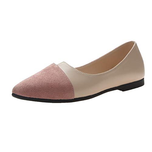 Pointed Toe Flats,SMALLE◕‿◕ Women's Casual Dress D'Orsay Pumps Ballet Comfort Soft Slip On Flats Shoes Pink ()