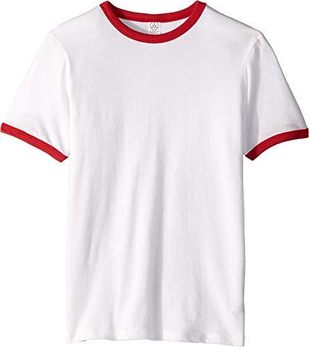 (Alternative Kids' Big Keeper Vintage Jersey Ringer Youth t-Shirt, White & Red, YXL)