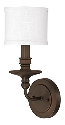 Burnished Bronze 1 Light 15.75in. Tall Wall Sconce with White Fabric Shade from the Midtown Collection