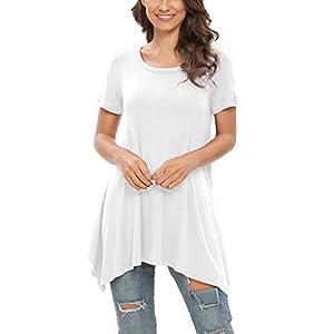 POPYOUNG Womens Short/Long Sleeve Tunic Tops Casual Swing Blouse Shirt