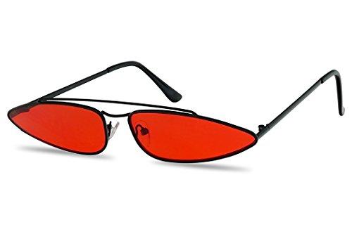 SunglassUP Ultra Slim Retro 90's Skinny Wide Oval Sun Glasses Narrow Metal Crossbrow Cateye Shades (Black Frame | Red)