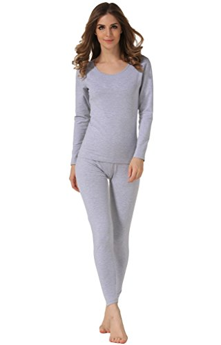 Hieasy Women's Stretch Cotton Thermal Underwear Mid Weight Base Layer Set Gray S (Cotton Underwear Set Stretch)