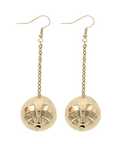 Disco Ball Earrings for Women - 70's Gold Halloween Earrings Women's Costume ()