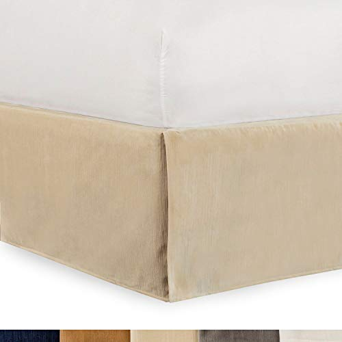 Shop Bedding Tailored Velvet Bed Skirt with Split Corner 18 inch Drop-Full, Cream Modern Dust Ruffle, High-End ()