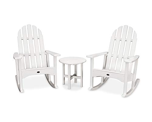 Trex Outdoor Furniture Cape Cod Adirondack Seating Set, Classic White (Chairs Trex Rocking)