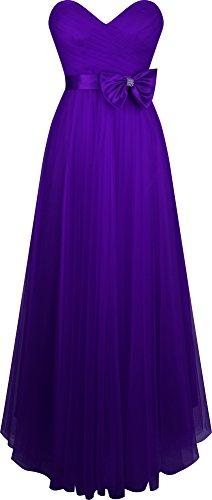 Ange-fashions Des Plissés Amoureux Des Femmes Tulle Une Ligne De Robe De Bal Arc Violet