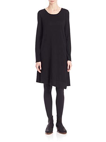 Eileen Fisher Merino Jersey Jewel Neck A Line Dress Black (Medium) ()