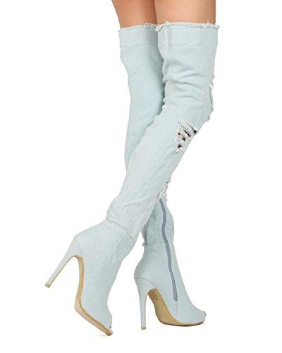 Femmes Alrisco Affligé Cuisse Haute Peep Toe Peekaboo Bas Résille Stiletto Boot - Hf40 Par Top Show Collection Denim Bleu Clair