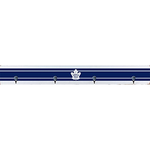 Rustic Marlin Designs NHL Toronto Maple Leafs Coat Rack Wall Hook (4 Hooks), White, 44