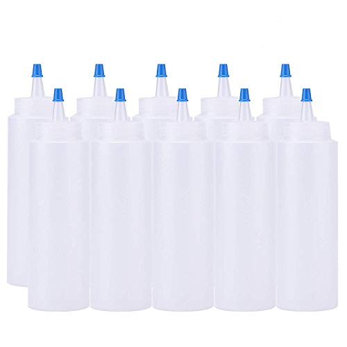 Fasmov 8-ounce Squeeze Bottles with Blue Tip Cap for Ketchup, Sauces, Salad Dressings, Crafts and More, Set of 10
