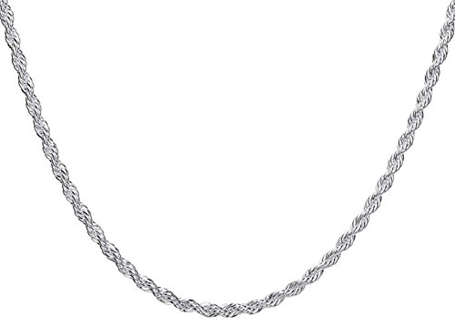 Toy Rope 18 - Goldenchen Fashion 925 Jewelry Classic 4mm Distort Rope Beautiful Sterling Silver Plated Necklace Chain For Women Men (18 Inch)