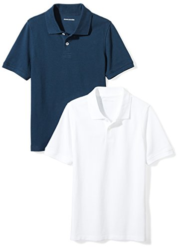 Amazon Essentials Boys' 2-Pack Uniform Pique Polo, Navy/Bright White, L (10)