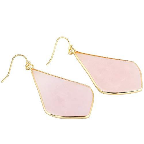 TUMBEELLUWA Crystal Quartz Stone Dangle Hook Earrings Rhombus Shape Gold Plated,Rose Quartz ()