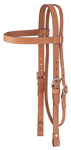(Tough-1 Western Leather Browband Draft Headstall - Black)