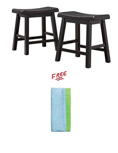 Set of 2 Ashby Bar Stools Black Rubbed 18-inch with Free!