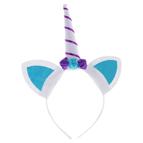 [Dovewill Unicorn Horn Costume Accessories Girls Headband Hairband Funny Party Fancy Dress - Blue] (Hen Night Costume Accessories)