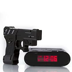 WAYCOM Newest Target Alarm Clock Creative Lock N'load Gun Alarm Clock Target Shooting Alarm Clock Target Toys for Christmas Gift-Black