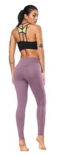 Fengbay High Waist Yoga Pants, Pocket Yoga Pants Tummy Control Workout Running 4 Way Stretch Yoga Leggings Lilac by Fengbay (Image #4)