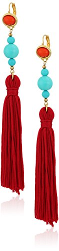 Kenneth Jay Lane Red Top Turquoise Bead with Red Tassel Drop Earrings Kenneth Jay Lane Red Earrings