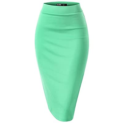 TWINTH Pencil Skirts Plus Size Casual Skirt Elastic Waist Band Scuba Streychy Solid Color at Women's Clothing store
