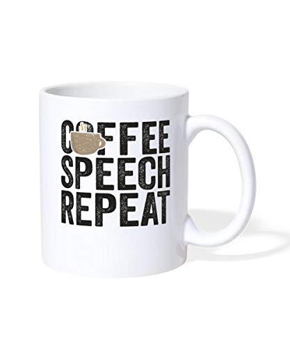 Spreadshirt Coffee Speech Repeat Speech Therapist Mug, white