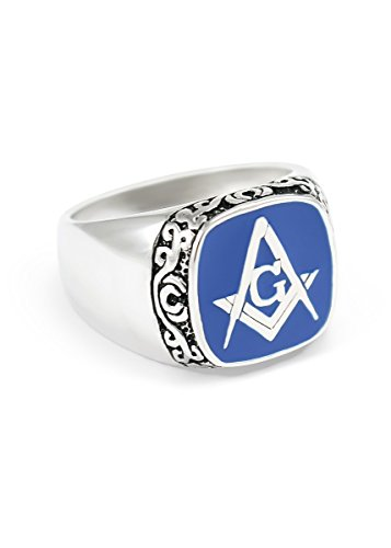 Masonic Blue Enamel Ring - The Collegiate Standard Sterling Silver Masonic Ring with Square and Compass & Blue Enamel Size 12