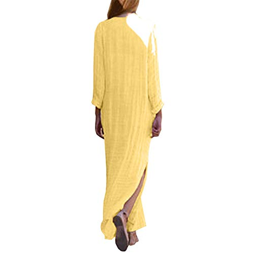 Bohème V Elégant Robe Mangches Imprimé Tunique Charmant Longue Col Floral Chic Jaune Kaftan Maxi Higlles femme Longue v8OwNnm0