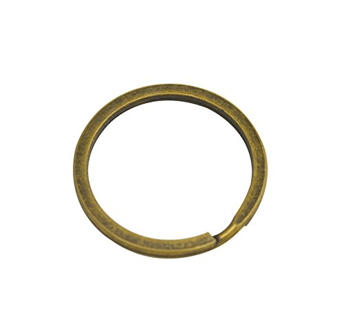 Wuuycoky 38mm Outer Diameter Metal Bronze Key Rings Flat Surface Split Ring Pack of 20
