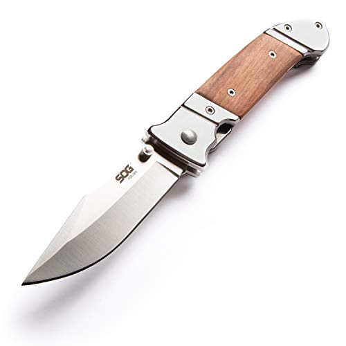 SOG Wood Folding Pocket Knife - Fielder Folding Knife, Gentlemans Knife, 3.3 Inch Classic Folding Knife Blade with Wood Knife Handle and Clip (FF30-CP) (Folding Pocket Knives With Clip)