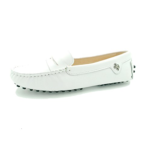 Goeao Womens Casual Luxury Leather Driving Classic Moccasins Slip-On Loafers Boat Shoes Flats White 9oNh7Uo