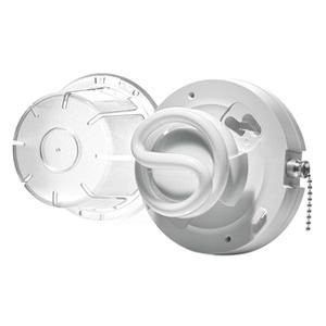 Leviton 9862-PCH Compact Fluorescent Lampholder, With Pull Chain Switch, Housing and Cover, 13W CFL Bulb, White
