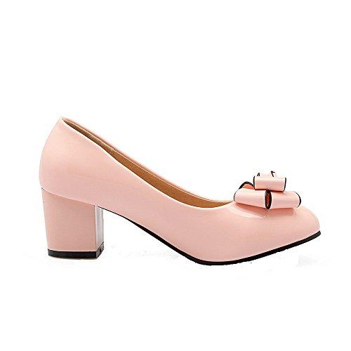 AllhqFashion Damen Rund Zehe Ziehen auf PU Leder Rein Niedriger Absatz Pumps Schuhe Pink
