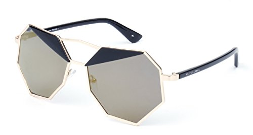 "Edition Polarized Sunglasses - PRIVÉ REVAUX ""The Activist"" [Limited Edition] Handcrafted Designer Geometric Polarized Sunglasses For Women (Black/Gold)"